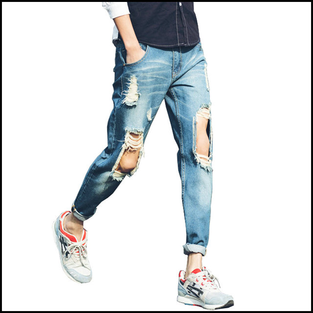 Online Shop 2016 Spring New Fashion Ripped Jeans Men Big Hole ...