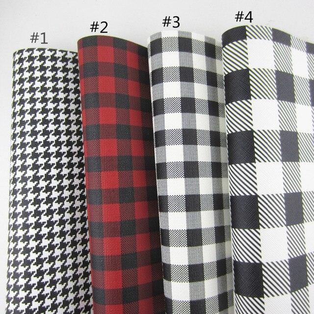 """Folha A4 8 """"X 11.8"""" Red Black Leatherette Tarten Faux PU de Couro sacos de fabrice para arcos DIY artesanato projeto 1 peças F0408"""