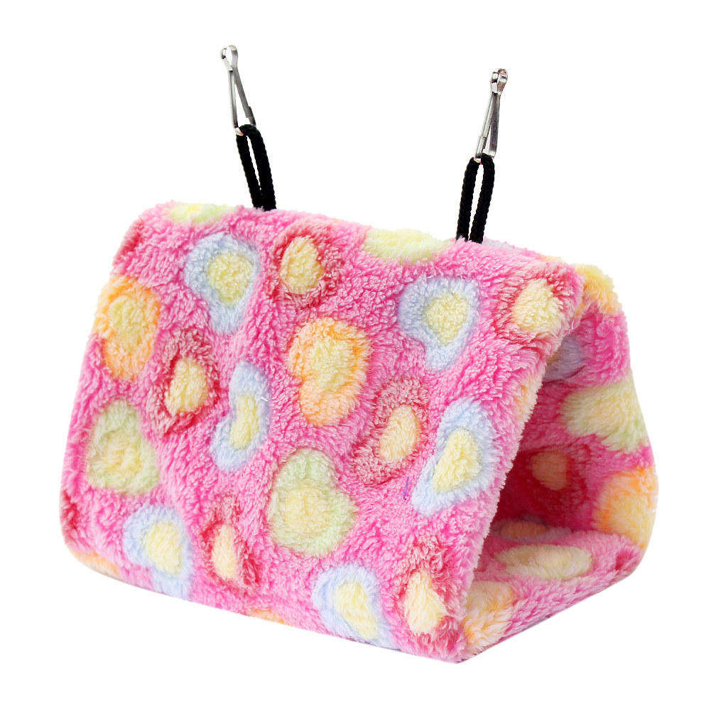 Hanging bed nest - Pet Hammocks Hanging Bed Cage Cave Nest Tent Pink Wool Warm Plush Snuggle House Hut For