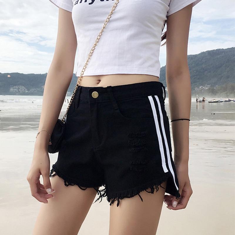 Korean Women's Summer All-match Waist Thin Edges Loose Wide Leg   Shorts   2018 Harajuku Women Side Stripes Harem Denim   Shorts