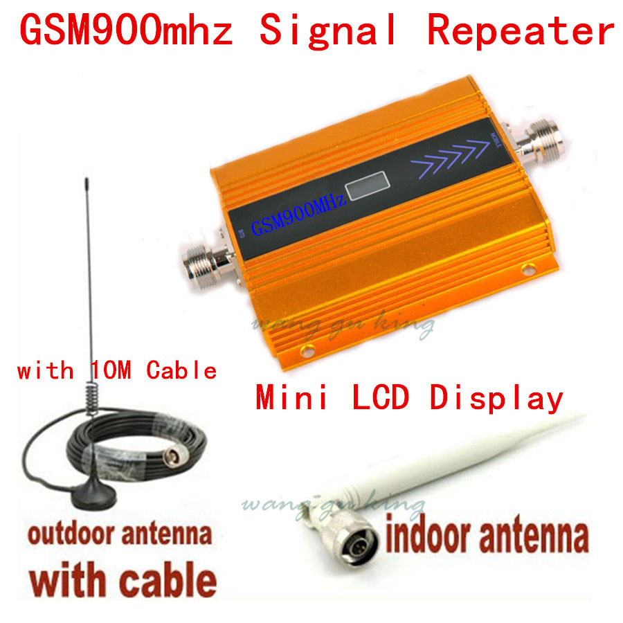NEW Top Quality GSM 900Mhz Mobile Cell Phone Signal Booster Amplifier RF Repeater Kit Contains 10m Cable+Sucker Antenna EU Plug