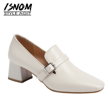 ISNOM Genuine Leather Pumps Women Square Toe Footwear Thick High Heels Shoes Female Fashion Buckle Shoes Woman Spring 2019 New