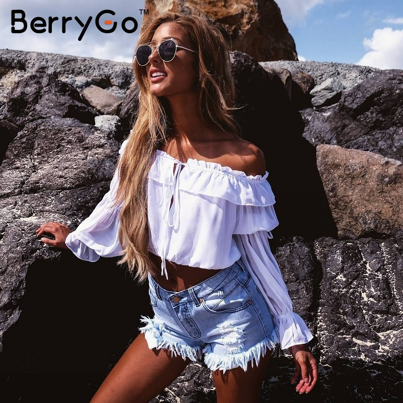 BerryGo Short ruffles chiffon blouse shirt Women summer crop tops off shouder White blouse female christmas hollow out blusas