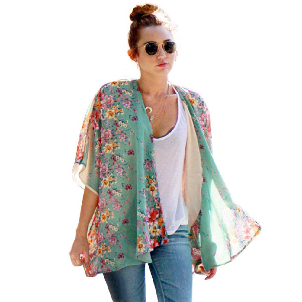 Aliexpress.com : Buy Fashion Kimono Cardigan Women Floral Print ...