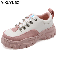 YIKUYUBO 2019 Spring Fashion Platform Shoes Ladies Flat Comfortable Shoes For Women Casual Shoes Non Slip Lace Up Black Sneakers