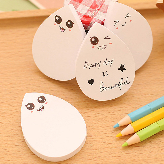 Creative Diy Water Drop Face Smily Memo Pad Sticky Label School Sticky Note For School Office Supplies Stationery
