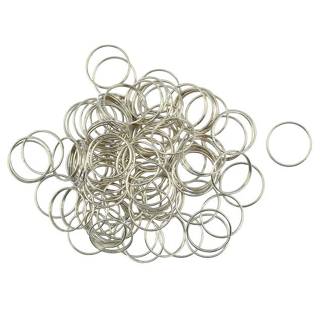 100 pcs Split Key Rings 0.7x18mm White K Plated Steel Round Split Ring for Car Home Keys Organization Arts & Crafts DIY Jewelry