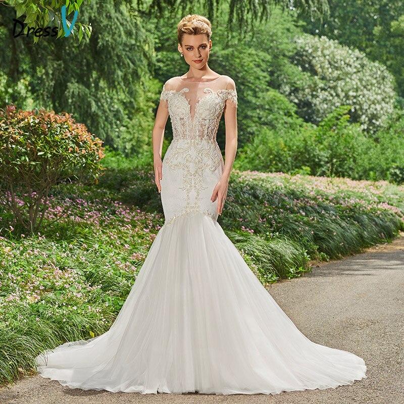 Dressv lång brudklänning golv längd Bateau hals kort ärmar kapell - Bröllopsklänningar