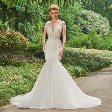 Dressv hosszú esküvői ruha Floor Length Bateau nyakú rövid ujjú kápolna vonat hableány Appliques Beading Princess esküvői ruhák