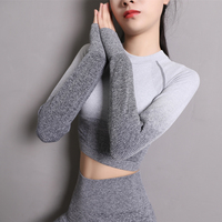 Imlario Ombre Seamless Fitness Crop Top Long Sleeve Compression Gym Yoga Shirt Workout Moisture Wicking Sport Shirts Thumb Hole