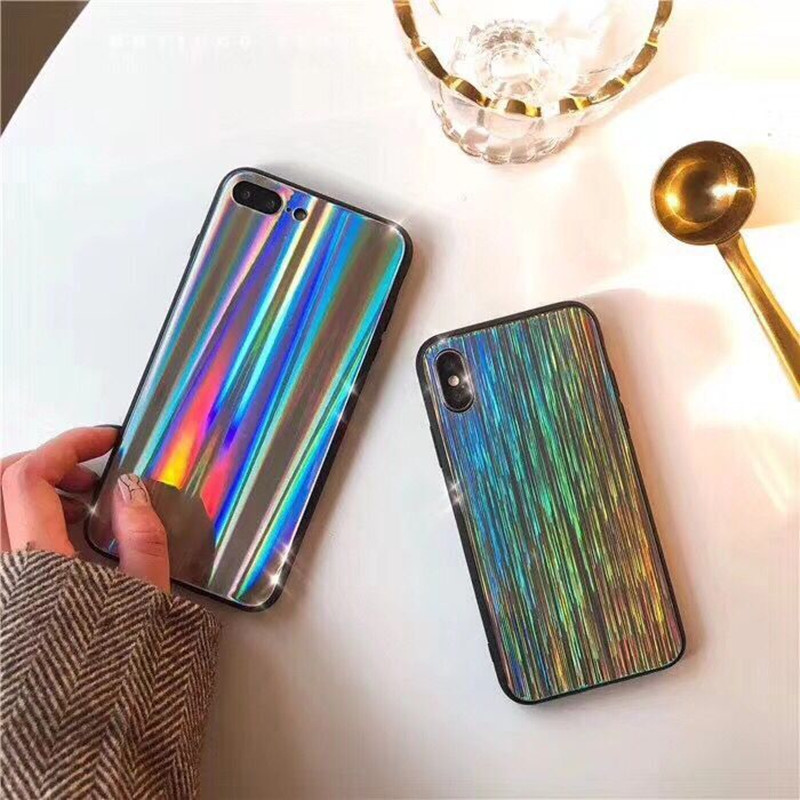 Лазерный свет мягкий силиконовый край Чехлы для iPhone X Shine Водопад пылающий телефона защитной оболочки смартфон задней обложки