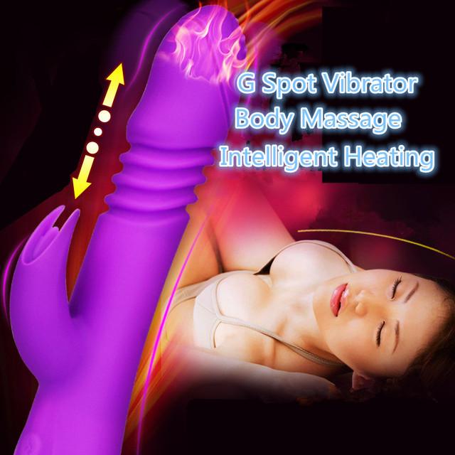 Estiramiento Oscilación Telescópica Impermeable Inteligente Calefacción Dildo Punto G Juguetes Del Sexo Del Vibrador 7 Velocidades Productos Adultos Del Sexo para Las Mujeres