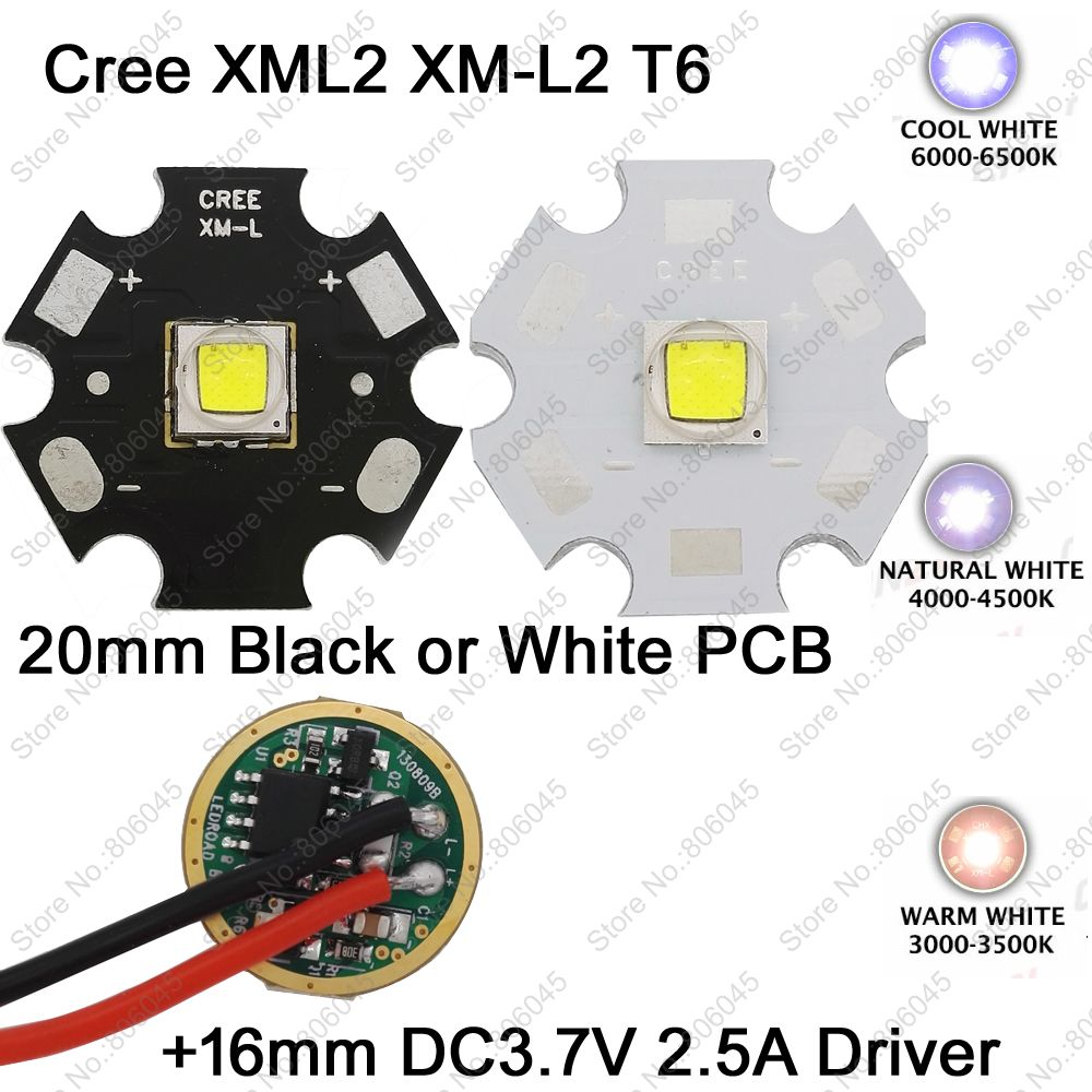 Home original cree xm l2 xml2 led emitter lamp light cold white - Cree Xml2 Xm L2 T6 Cool White Warm White Neutral White 10w Led Emitter 20mm