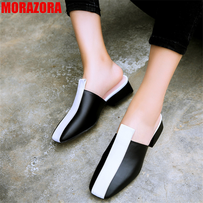 MORAZORA 2019 new arrival genuine leather shoes women pumps square toe slip on summer shoes mixed colors mules party shoes MORAZORA 2019 new arrival genuine leather shoes women pumps square toe slip on summer shoes mixed colors mules party shoes