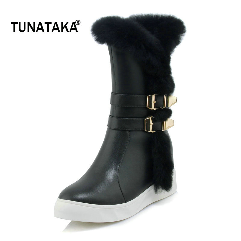 Genuine Leather Winter Warm Mid Calf Boots Fashion Platform Height Increasing Dress Woman Snow Boots Side Zipper Round Toe Boots zippers double buckle platform mid calf boots