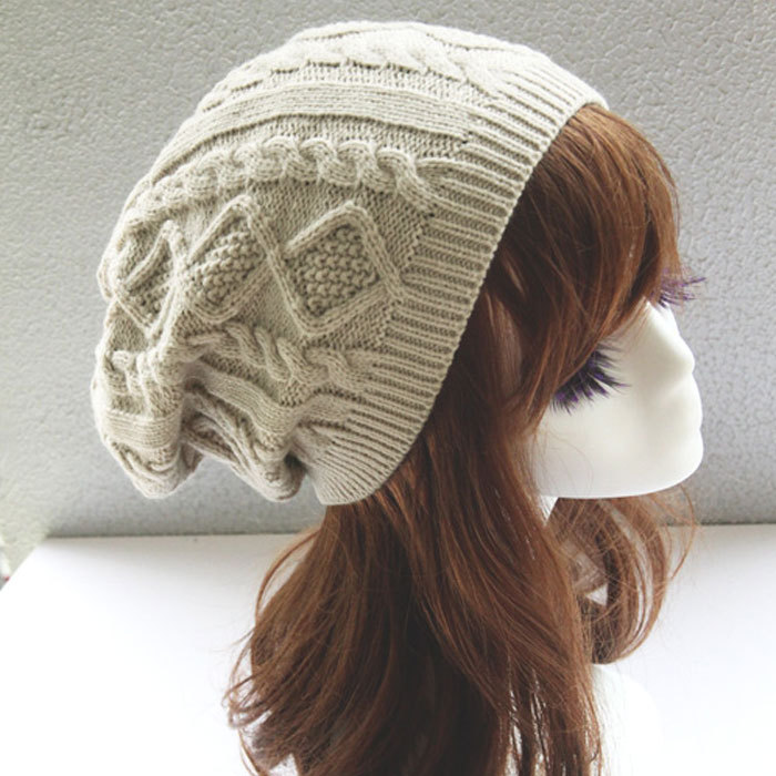 49b94d908ad Hot 2017 Fashion Women thick Caps Twist Pattern Women Knitted Sweater Hats  pom poms winter hat cotton beanies cap female W2-in Skullies   Beanies from  ...