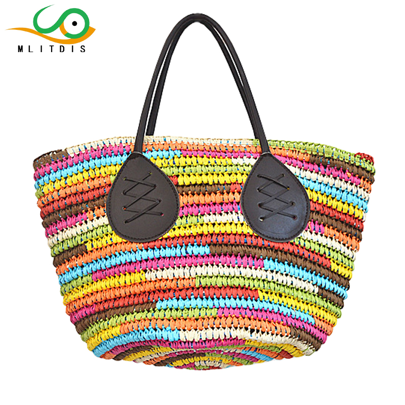 MLITDIS Rainbow Handbag Women Bag Designer Bolsa Feminina De Marca Famosa 2017 Beach Bags Women Straw Handbags Summer Fashion