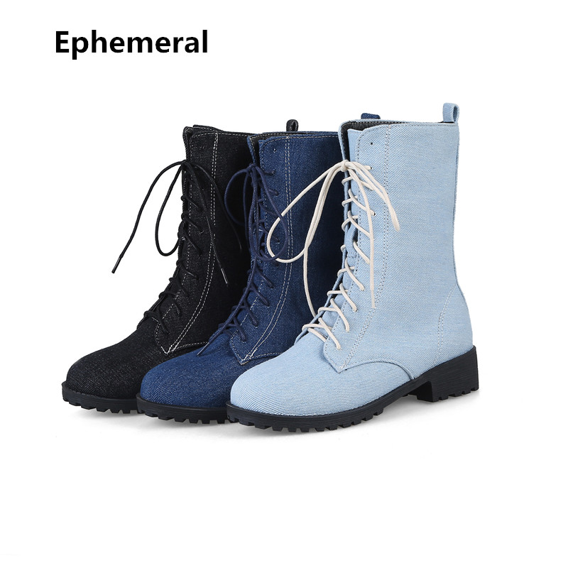 Ladies high top shoes mid-calf boots denim lace-up fur botas zapatos round toe med heels plus size 15 blue black new arriva 2017