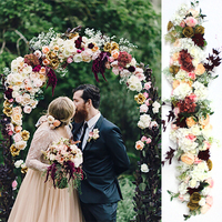 1M European wedding props silk artificial flower row arrangement stage T platform road guide flower row arch floral wall decor