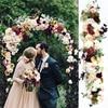 1M אירופאי אבזרי חתונה משי מלאכותי פרח הסדר שורה שלב T פלטפורמת כביש מדריך פרח שורה קשת פרחוני קיר דקור