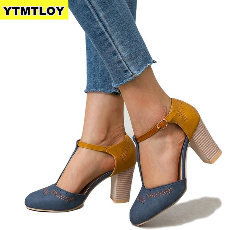 Summer Women Pumps Square Heel High Shoes Ladies Platform Round Toe T-tied Wedding Dress Mujer  Luxury  Zapatos Blue Shoes