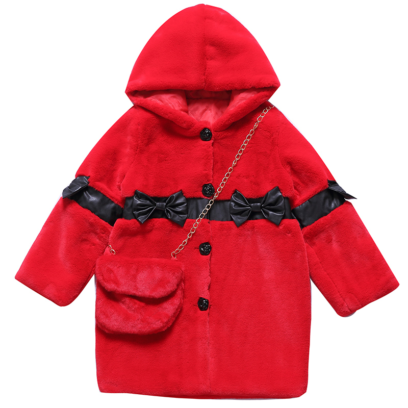 Girl jacket coat Christmas red cute 2017 winter hooded fur long outerwear for 4 5 6 7 8 9 10 11 12 13 14 years children clothing children cowboy jacket coat hooded 2017 winter new tide thick cashmere long outerwear size 4 5 6 7 8 9 10 11 12 13 years girl