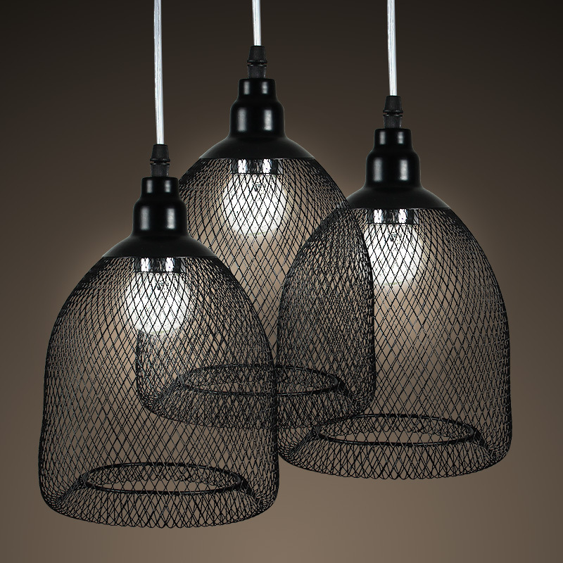ФОТО Vintage Painted Metal fencing cage Dining Room Pendant Light American Country Rustic Restaurant Hallway Blacony Pendant Lighting
