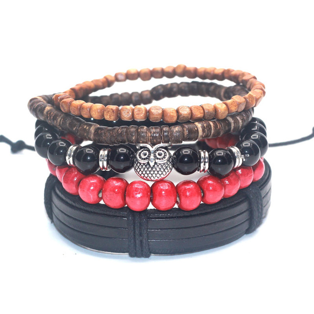 Men Black Bamboo Wood Lava Stone Skull Beads Fashion Bracelet Bangle