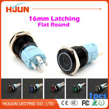 1pcs 16mm Face Waterproof Latching Maintained Flat Round Metal Push Button Switch Light Car Horn Auto Lock Black