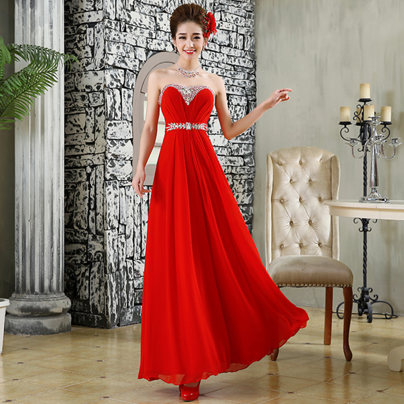 Holievery Beaded Crystal Long   Bridesmaid     Dresses   with Pleats 2019 Red Chiffon Party   Dress   Lace Up Formal   Dresses