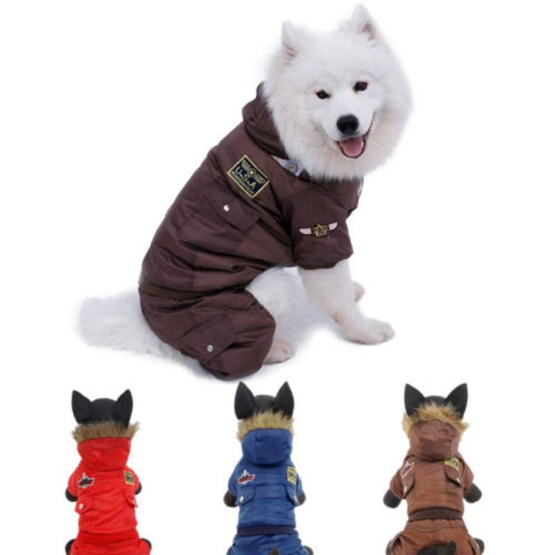 Безкоштовна доставка Великий одяг для собак Pet пальто зимова куртка теплий одяг щеня одяг червоний синій колір розмір 2XL-5XL