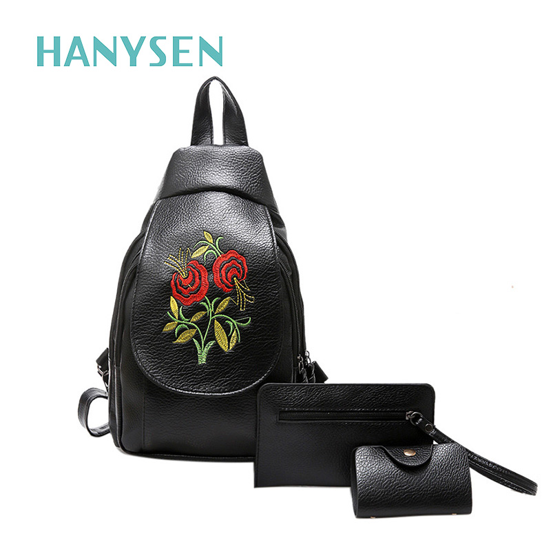 2017 New Female Embroidery Flowers Backpack Vintage Women PU Leather Leisure Backpack High Quality Small Travel