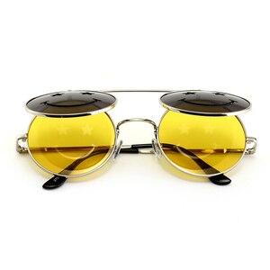 Kachawoo flip up runde sonnenbrille männer vintage rot rosa gelb runde sonnenbrille für frauen zubehör sommer strand 2018