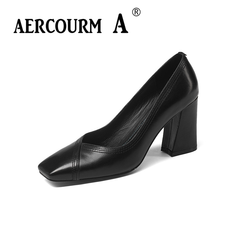 Aercourm A 2018 Women Genuine Leather Pumps Female Shallow Solid Color Shoes Square Toe High Heel Blue Black Green Dress Shoes aercourm a 2018 women black fashion shoes female bright genuine leather shoes pearl high heel pumps bow brand new shoes z333