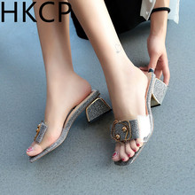 HKCP 2019 summer new slippers outside wearing wild high-heeled women thick with transparent one-word fashion C247