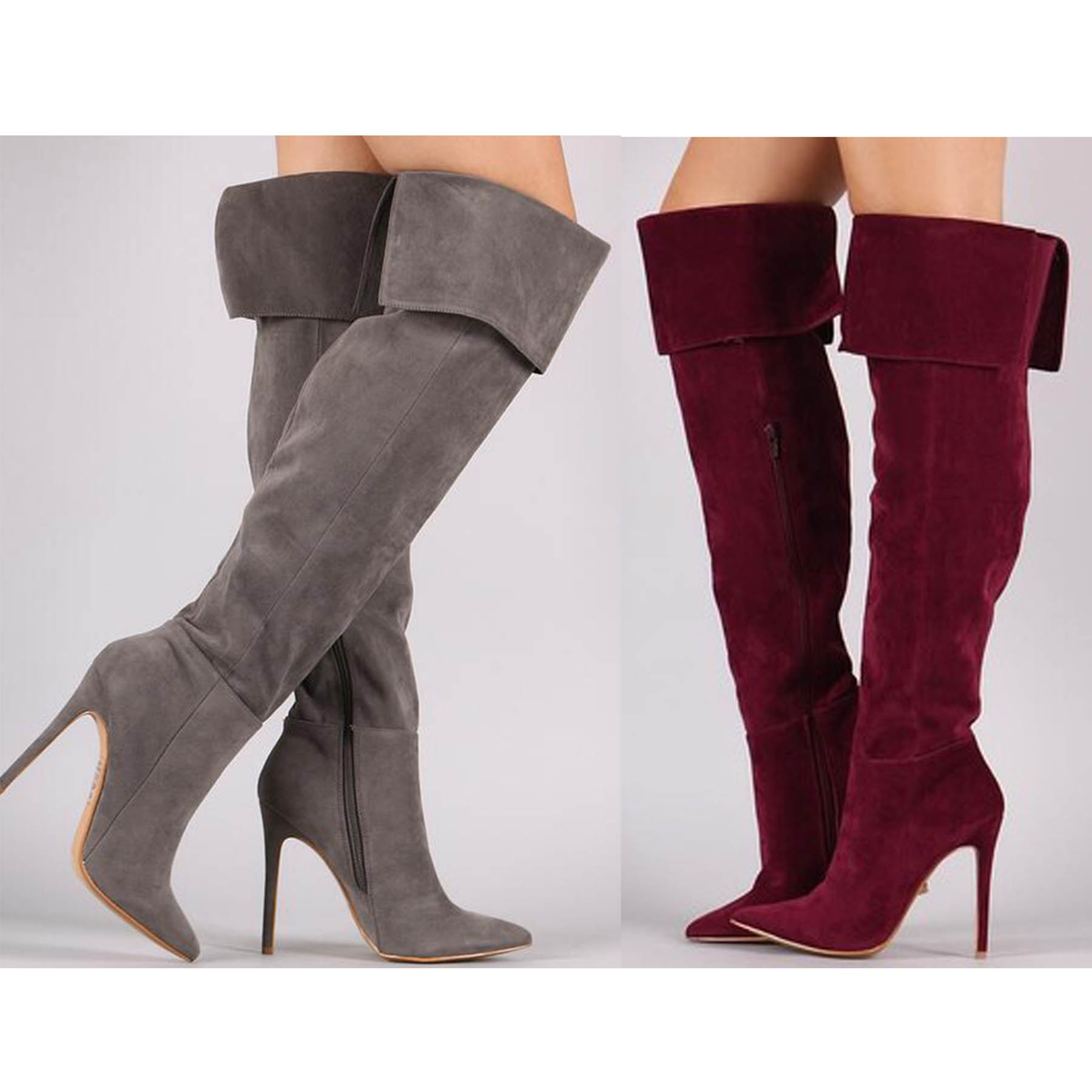Fashion Sexy Pointed Toe Stiletto velvet ultra High heel over the knee boots Hot selling big size 6-11 women zip boots jialuowei women sexy fashion shoes lace up knee high thin high heel platform thigh high boots pointed stiletto zip leather boots