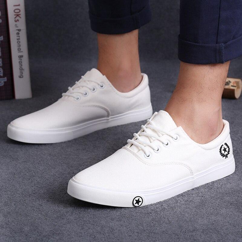 Nuevos Zapatos de Lona Planos de Los Hombres Respirables Blanco Negro Ocasional