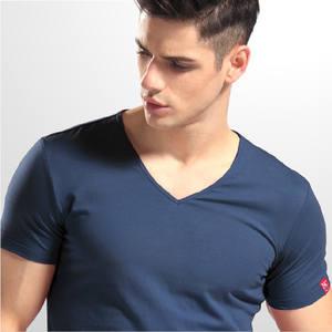 663cb6dbef471 T-shirt V neck short sleeves lycra cotton t shirt for man