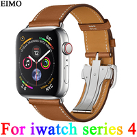 EIMO Single Tour Deployment Buckle Strap For Apple Watch 4 band 44mm 40mm Iwatch series 4 Fauve Barenia Leather wrist Bracelet