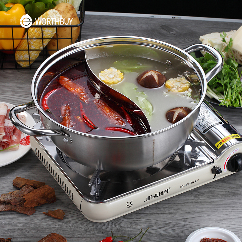 WORTHBUY Chinese 304 Stainless Steel Hot Pot 28/30/32cm Kitchen Soup Stock Pot Cookware For Induction Cookers Cooking Pot