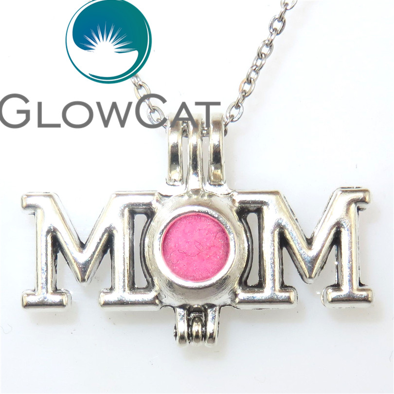 VV588 Vintage Letter Mom Maternal Love Beads Cage Locket Aromatherapy Essential Oil Diffuser Pendant Necklace Party Gift