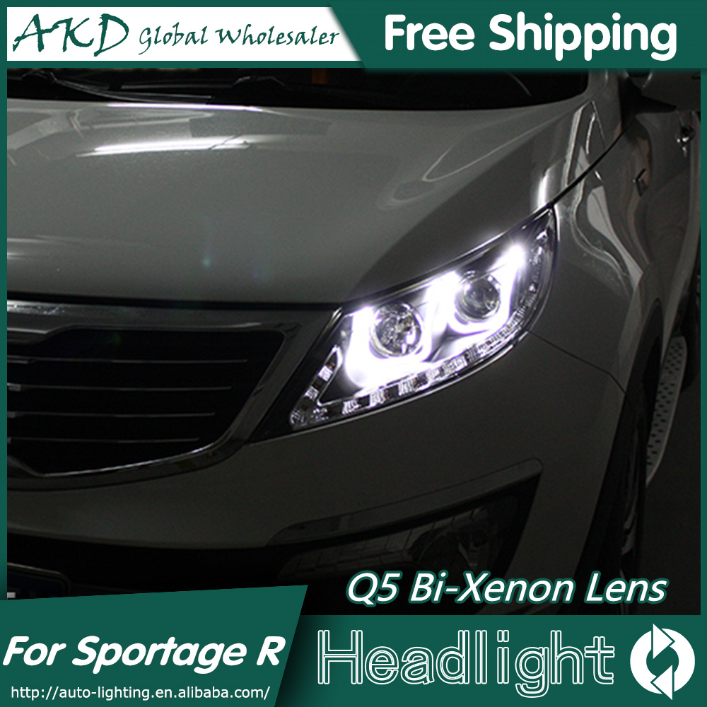 AKD Car Styling for Kia Sportage R Headlights 2011-2014 Sportage LED Headlight LED DRL Bi Xenon Lens High Low Beam Parking hireno car styling for toyo ta corolla 2011 13 headlights led super bright headlight drl xenon lens high fog lam
