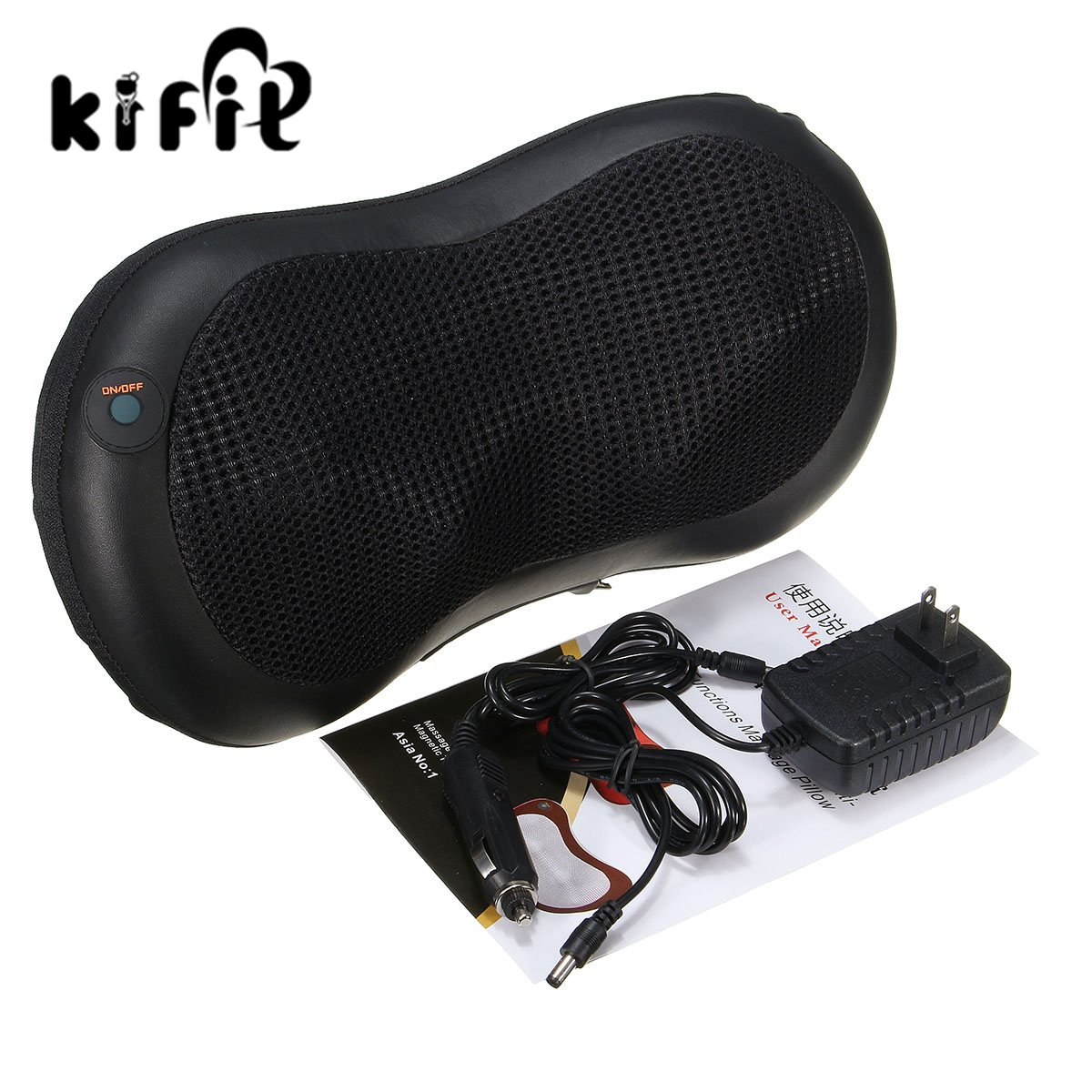 KIFIT Modern Electric Massager Body Lumbar Massage Pillow Cushion Neck Knead Shoulder Back Home Car Health Care Tool kifit convenient handheld ice cooling roller facial skin care beauty face body massage home used health tool