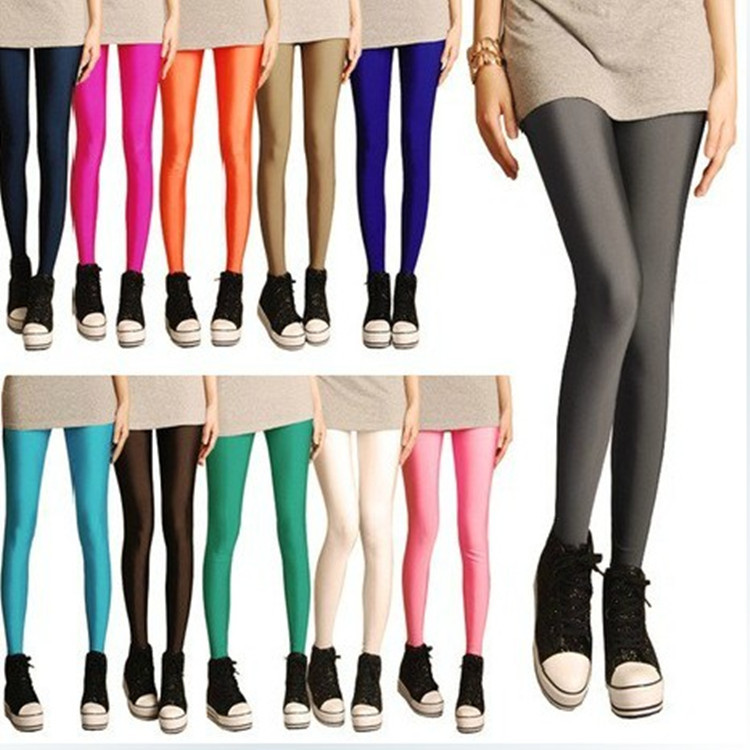 2015 New South Korean Fashion Show Thin Candy Colored Fluorescent Elastic Pants Nine Wind Pants Club Neon Pants Capris