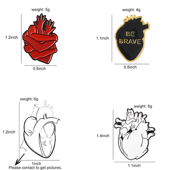 Organ Heart Enamel Pin Starry Heart Brave Cats Bloodthirsty Hug Brooches 1