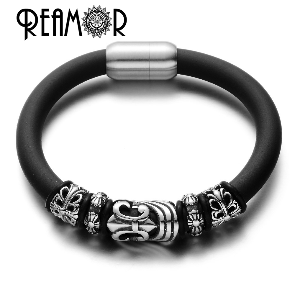 Reamor Chrome Style 316l Stainless Steel Hollow Cross Beads Black Leather Rubber  Men Bracelets With Magnetic