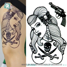MC707 19X12cm HD Large Tattoo Sticker Body Art Sexy Skull Women Gun Temporary Tattoo Terrorist Stickers Flash Taty Tatoo