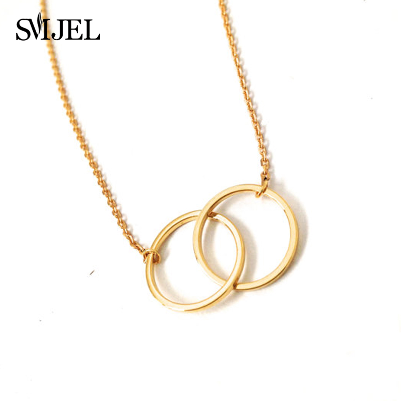 Gold and Silver Infinity Double Rings Necklace for Girls Interlocking Circles Pendant Necklace N184 Ожерелье