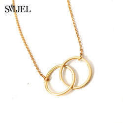 SMJEL Simple Double Circle Pendant Necklace Choker Eternity Interlocking Hoop Infinity Necklaces Wedding Jewelry Bijoux