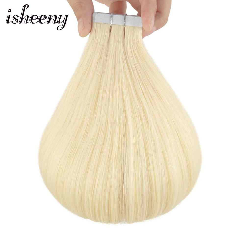 """Isheeny платиновый блондин ленты в Пряди человеческих волос для наращивания Волосы remy 14 """"-22"""" прямой 60 # PU волос натуральный ленты человеческих волос, Кожи Утка"""